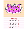 Calendar 2017 with cats February In cartoon 80s vector image vector image