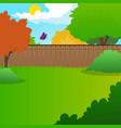 cartoon backyard landscape with green meadow vector image vector image