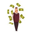 cartoon rich people happy super rich vector image