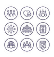 charity line icons set vector image