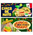 cinco de mayo banners mexican sombrero maracas vector image vector image