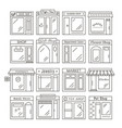 city shops and stores buildings icons in linear vector image