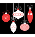 Colorful retro Christmas balls isolated on black vector image vector image