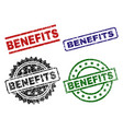 damaged textured benefits seal stamps vector image
