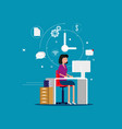 designer woman working with creative process vector image vector image