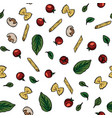 doodle drawing cherry tomatoes mushrooms pasta vector image