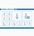 drink and bottle icons - set web or mobile 01 vector image vector image