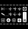 flat scissors set on black backdrop vector image vector image