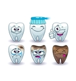 Funny cartoon teeth set vector image