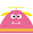 funny monster head with fang tooth and propeller vector image vector image