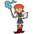 girl magic school pupil vector image