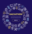hackathon signs round design template thin line vector image vector image
