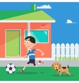 Happy Boy Playing Football with Dog vector image vector image