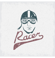 head of racer vintage grunge design template vector image vector image