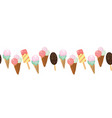 ice cream and cherries horizontal seamless border vector image vector image