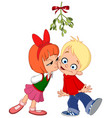 kids kissing under mistletoe vector image vector image