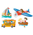 kids riding on different types of transportation vector image vector image
