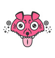 mad dog cartoon pink puppy funny vector image vector image