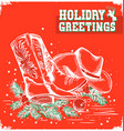 merry christmas and New Year red card with cowboy vector image