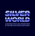 modern sign silver world reflective font vector image vector image