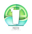 mojito cocktail icon grainy texture design vector image