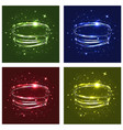 neon crossed circles light lines effect set of vector image