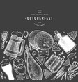 octoberfest banner hand drawn on chalk board vector image vector image