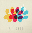 Pet shop color dog paw concept vector image