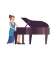 pianist woman classical female musician character vector image