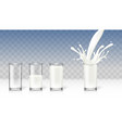 realistic transparent milk in a glass diet drink vector image vector image