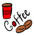 red coffee beaker mug coffee vector image