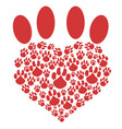 red heart pet paw vector image