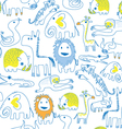 seamless animal pattern soft color vector image vector image