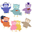 set cute owls isolated on white background vector image vector image