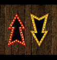 set gold retro arrow with lights vector image vector image