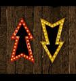 set gold retro arrow with lights vector image
