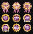 set of excellent quality violet badges with gold vector image vector image