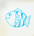Sketch line drawing fish vector image vector image