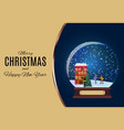 snow glass globe with children skate in winter vector image vector image