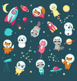 space animal icon set vector image vector image