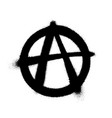 sprayed anarchy symbol with overspray in black vector image