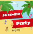 summer party flat banner template vector image vector image
