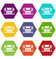 thailand temple icon set color hexahedron vector image vector image