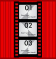 the reel film background red curtains for text vector image