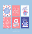 valentine s day greeting card set with hand drawn vector image