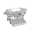 vintage typewriter machine with paper and keyboard vector image