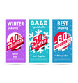 winter flyers set with snowflacke and discount vector image vector image