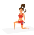 Woman at the gym is doing lunge exercise vector image