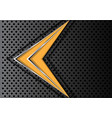 yellow arrow silver line on dark circle mesh vector image vector image