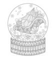 zentangle snow globe with sledge Christmas tree vector image vector image